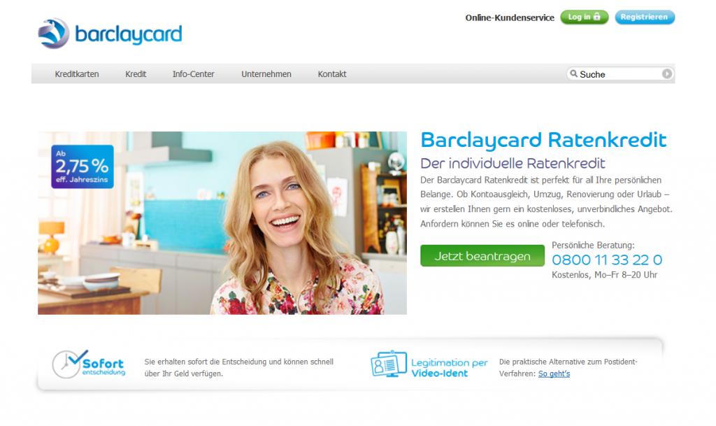 Effektivzinsen bei Barclaycard ab 2,75 Prozent