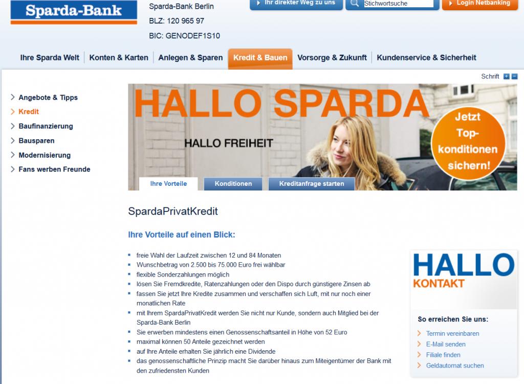 Kredite von bis zu 75.000 Euro bei der Sparda Bank Berlin