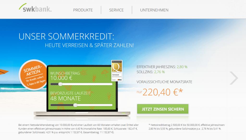 Unser Testsieger: Die SWK Bank