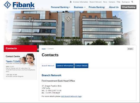 Die Kontaktseite der Fibank