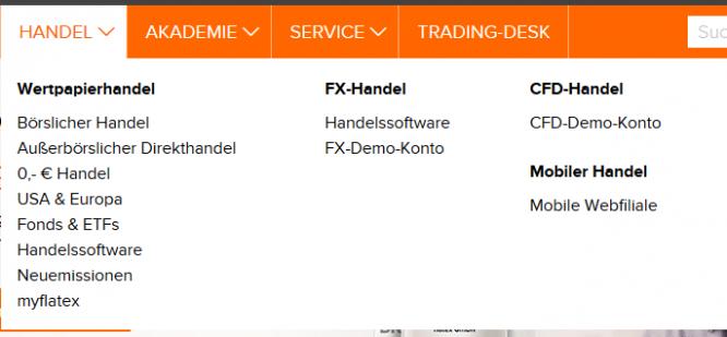 flatex Breites Handelsportfolio