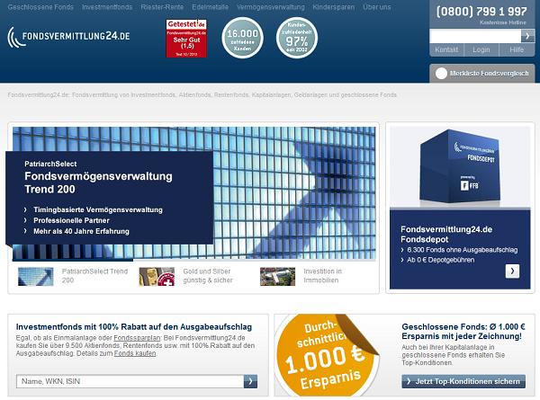Webauftritt von fondsvermittlung24.de