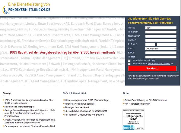 Webseite des Wertpapierdepots