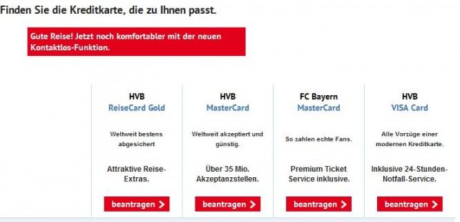 HypoVereinsbank Übersicht aller Kreditkarten