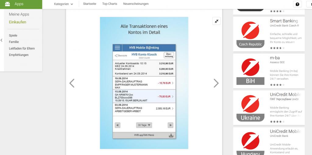 Das Online-BankingMobile B@nking bei der HypoVereinsbank