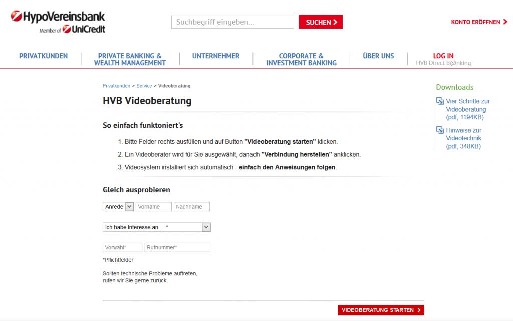 Kunden der HVB können die Videoberatung nutzen