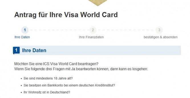 Antragsformular für die VISA World Card