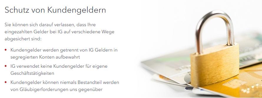 IG bietet optimalen Schutz von Kundengeldern