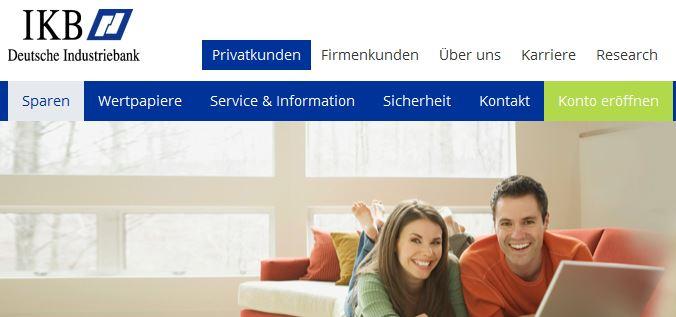 IKB Bank Startseite zum Bereich Sparen