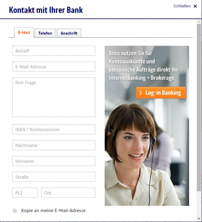 Das Email-Kontaktformular der ING DiBa