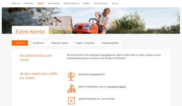 Bei ING-Diba gibt es ab dem ersten Euro 1,00 % p.a. Zinsen