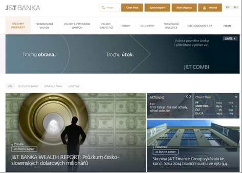 Die Homepage der J&T Banka
