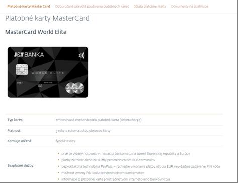 Das Kreditkartenangebot der J&T Banka