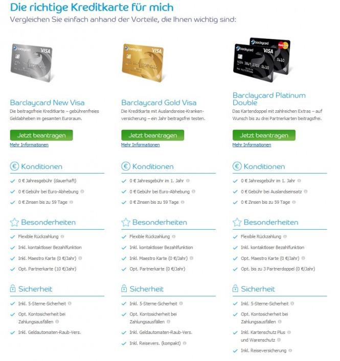 Barclaycard bringt zahlreiche verschiedene Kreditkarten mit