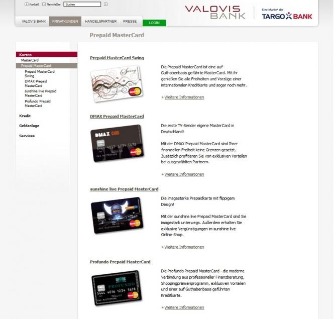 Bei der Valovis Bank finden Sie zahlreiche Prepaid Kreditkarten