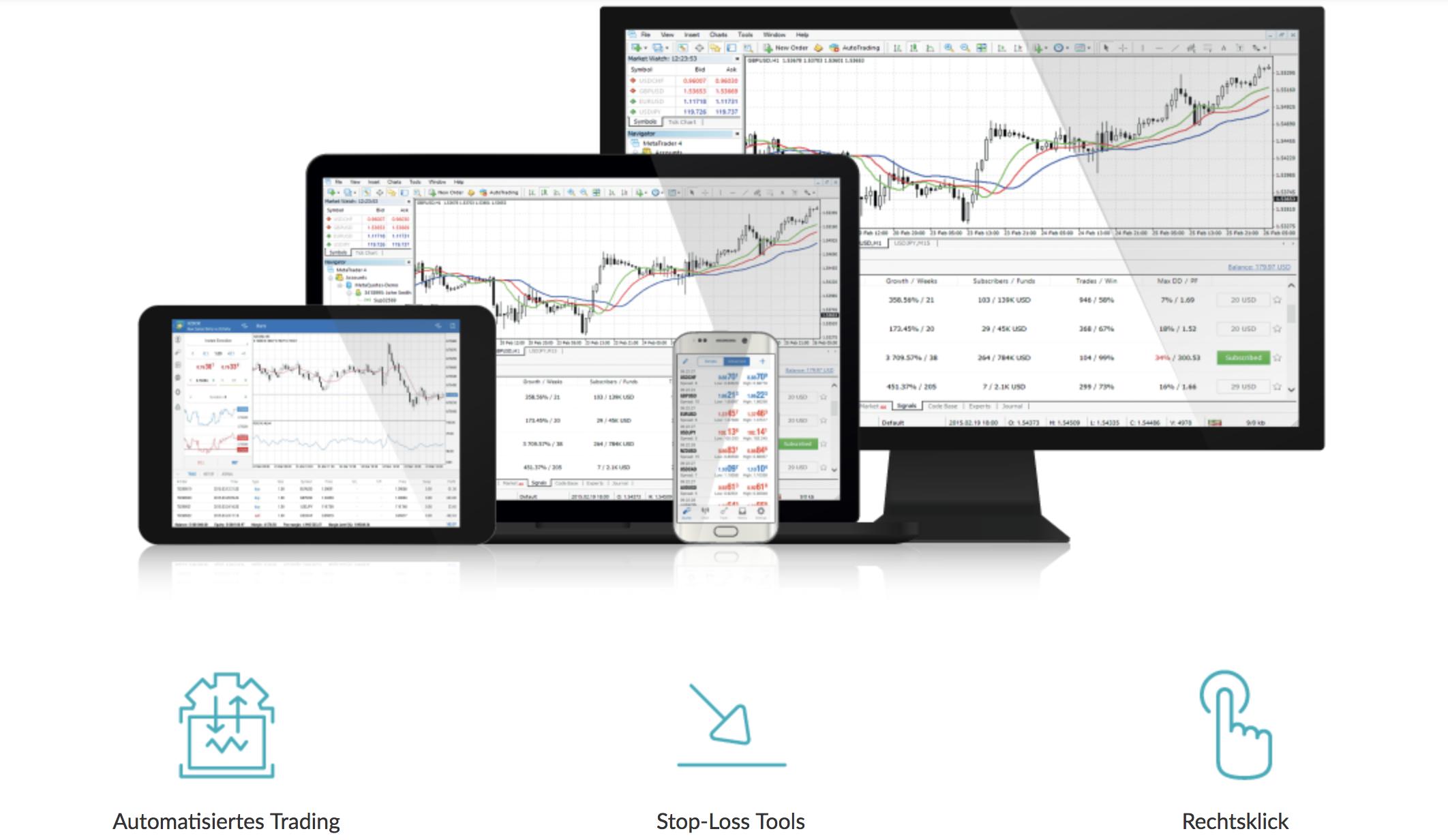 Trader können bei LCG Erfahrungen mit dem MetaTrader 4 sammeln