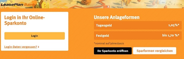 Login zum LeasePlan Bank Sparkonto