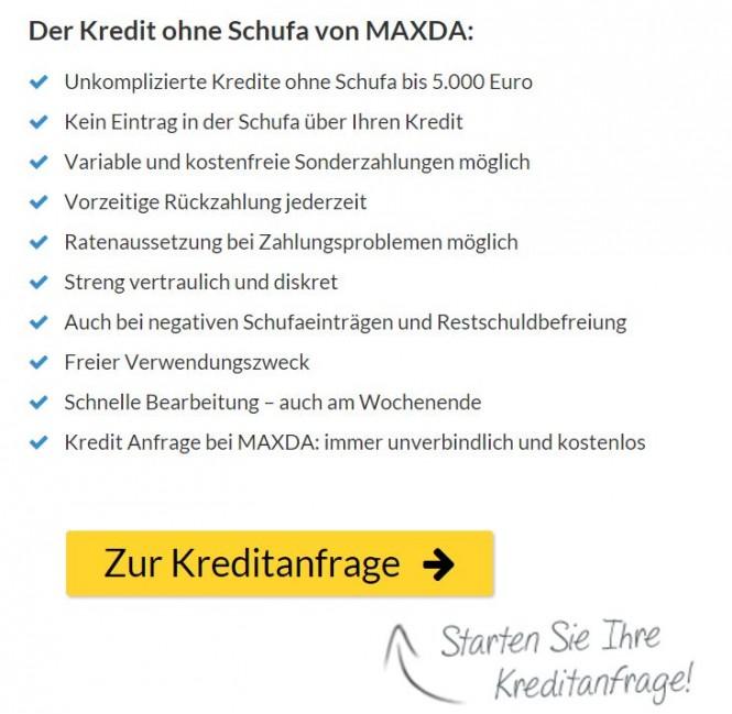 Maxda Kredit ohne Schufa: Die Vorzüge auf einen Blick