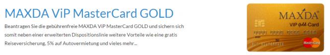 Maxda Gold Card ohne Jahresgebühr.