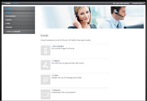 Die Kontaktseite der Mercedes-Benz Bank