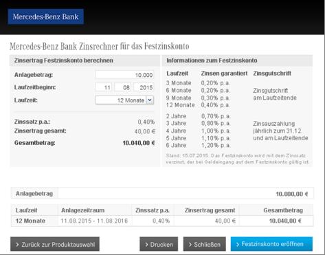 Der Zinsrechner der Mercedes-Benz Bank
