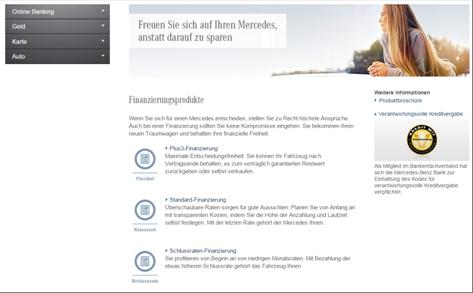 Das Finanzierungsangebot der Mercedes-Benz Bank