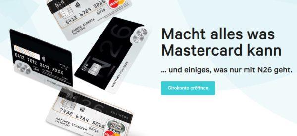 Eine kostenlose Mastercard? Bei der N26 Bank kein Problem