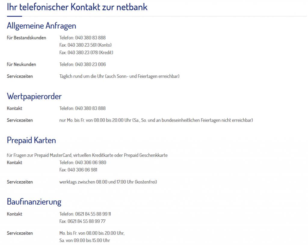 Kontakt bei der Netbank im Überblick