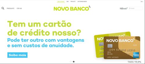 Die Startseite der Novo Banco