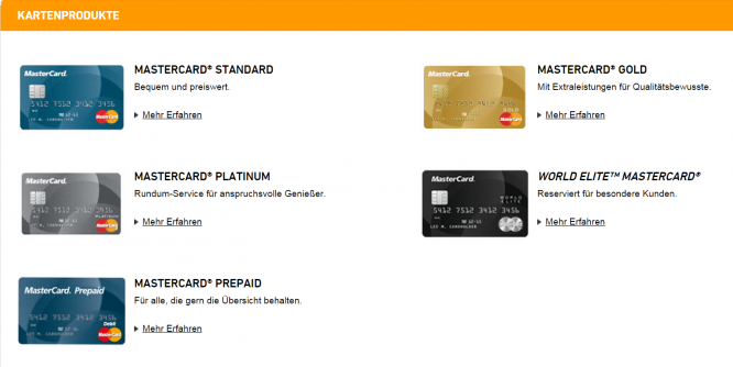 Das MasterCard Kreditkartenangebot
