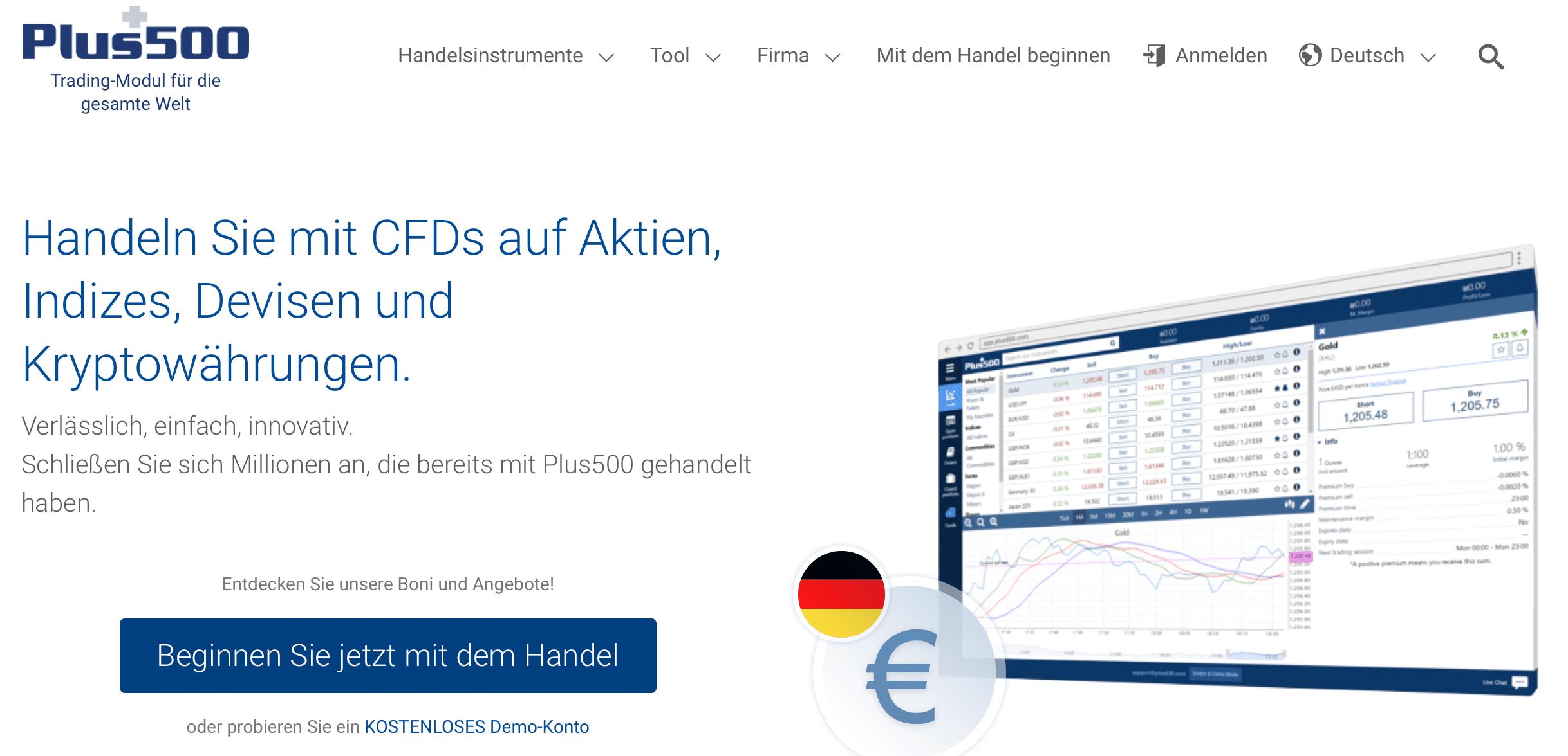 Plus500 ist ein bekannter CFD-Broker, der auch den Handel mit klassischen Optionen ermöglicht