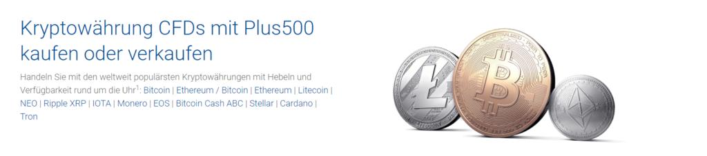 Der Broker Plus500 bietet ebenfalls den Handel mit Kryptowährungen an