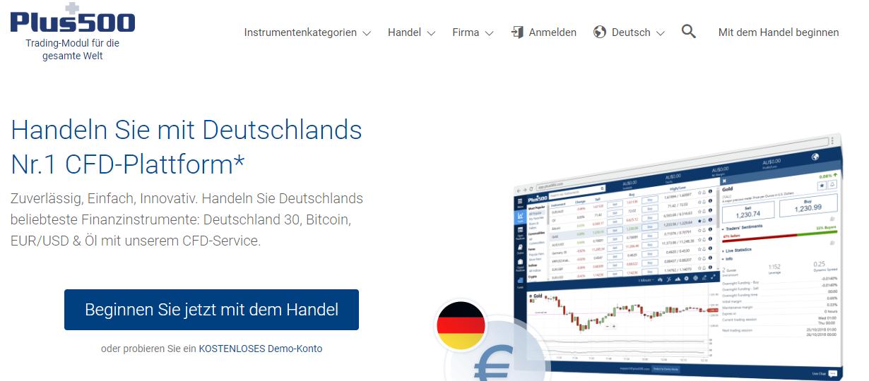 Handeln Sie mit Deutschlands Nr.1 CFD-Plattform bei Plus500