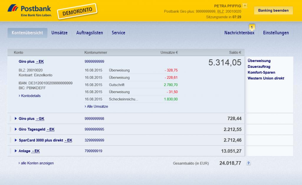 Online-Banking im Demokonto der Postbank