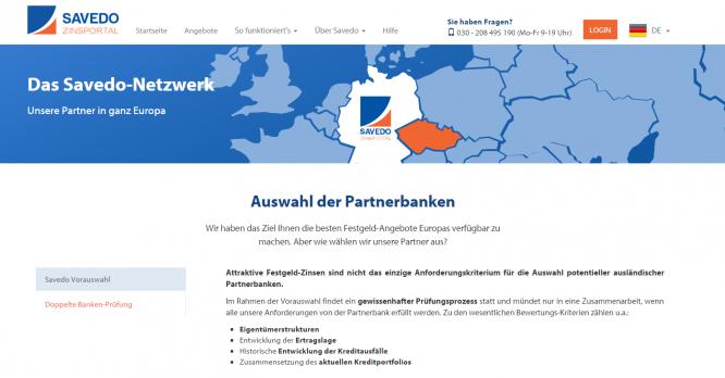 Die Homepage von Savedo