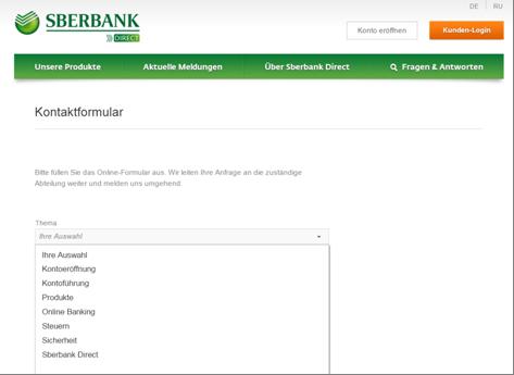 Das Kontaktformular der Sberbank