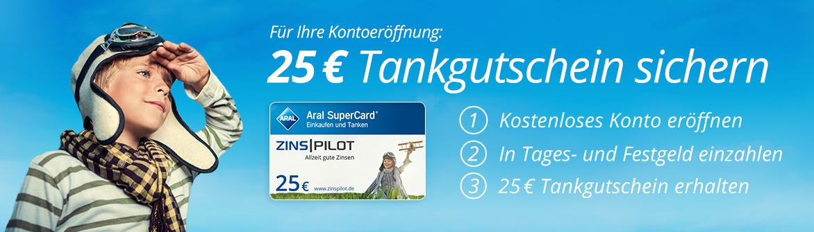 Neukunden können bei Zinspilot einen Tankgutschein über 25 Euro erhalten.