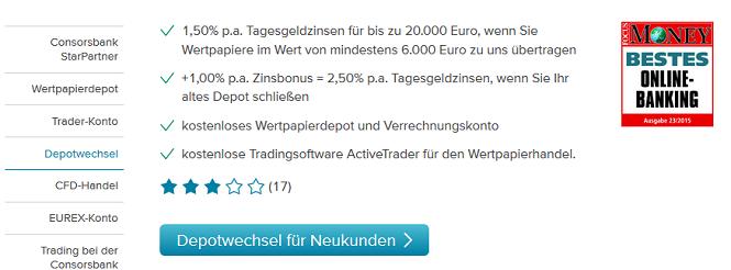 Consorsbank Depotwechsel Bonus