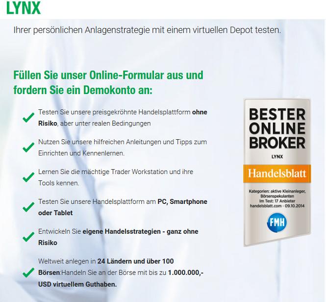 LYNX Demokonto Vorteile
