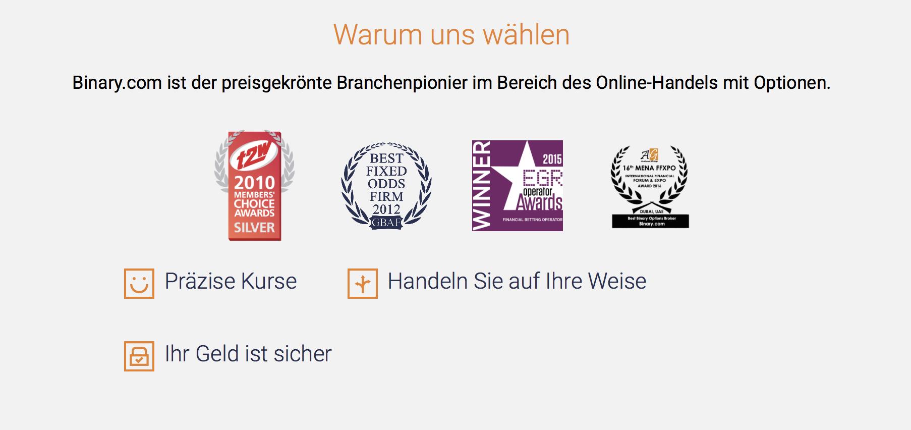 Binary.com wurde bereits mehrfach ausgezeichnet.