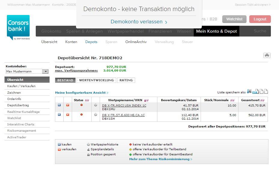 Consorbank Demokonto Wertpapierdepot