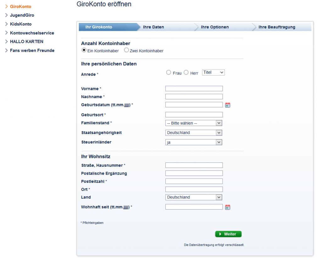 Das Eröffnungsformular der Sparda-Bank Berlin
