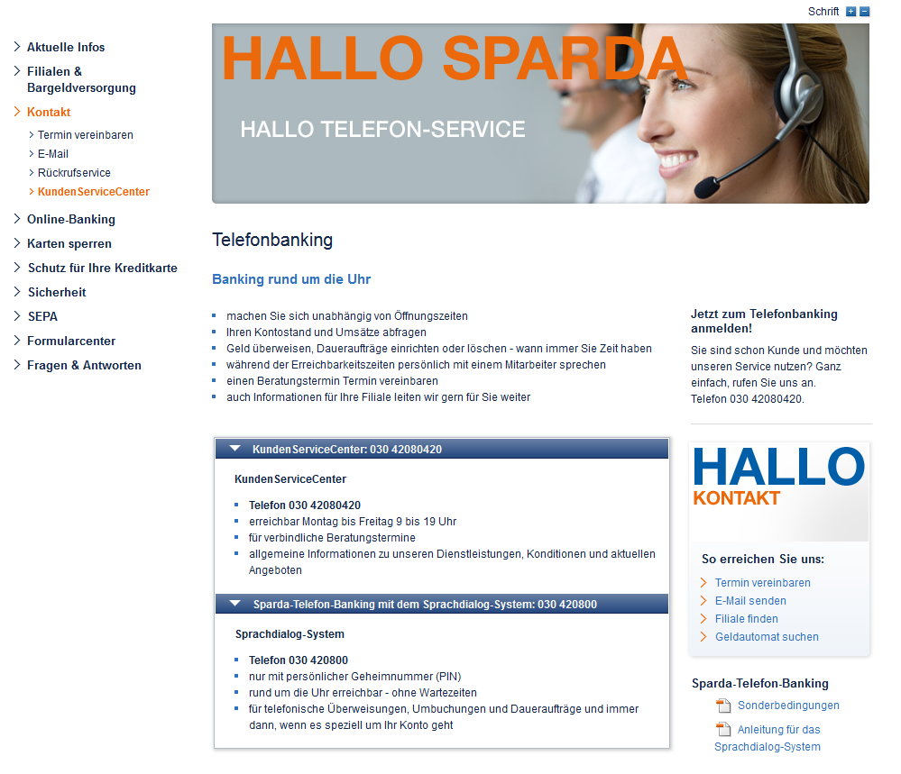 Der Telefon-Support der Sparda-Bank Berlin