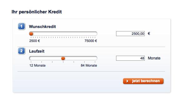 Kreditwünsche sind ab 2.500€ möglich (Kreditrechner der Sparda-Bank)