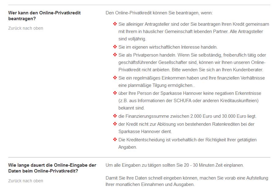 Voraussetzungen bei der Sparkasse Hannover