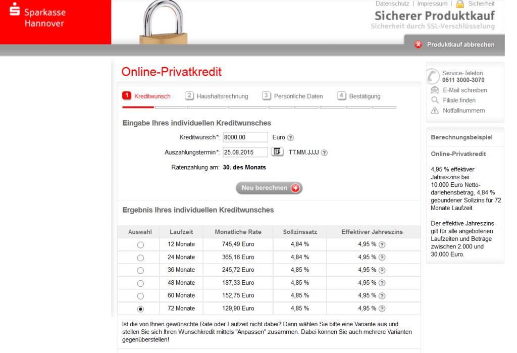 Der Kreditrechner der Sparkasse Hannover