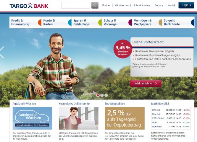 Die Homepage der Targobank