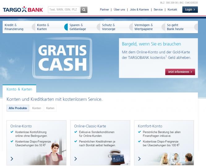 Die Gratis-Cash-Funktion bei der Targobank