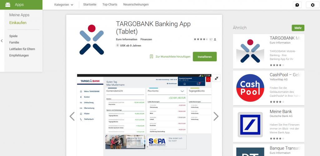 Die Targobank App für Tablets