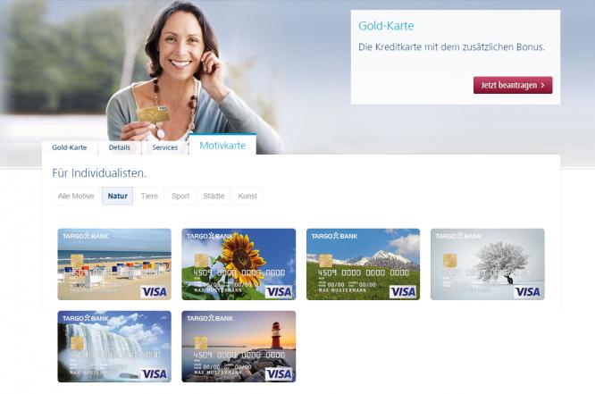 Die Kreditkartenmotive bei der Targobank
